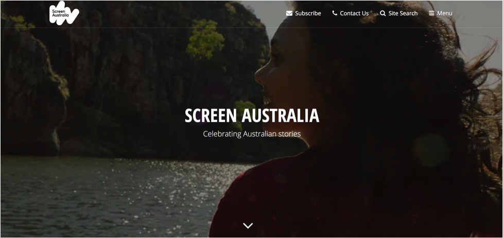 The Screen Australia homepage uses video to tell the story of the brand.